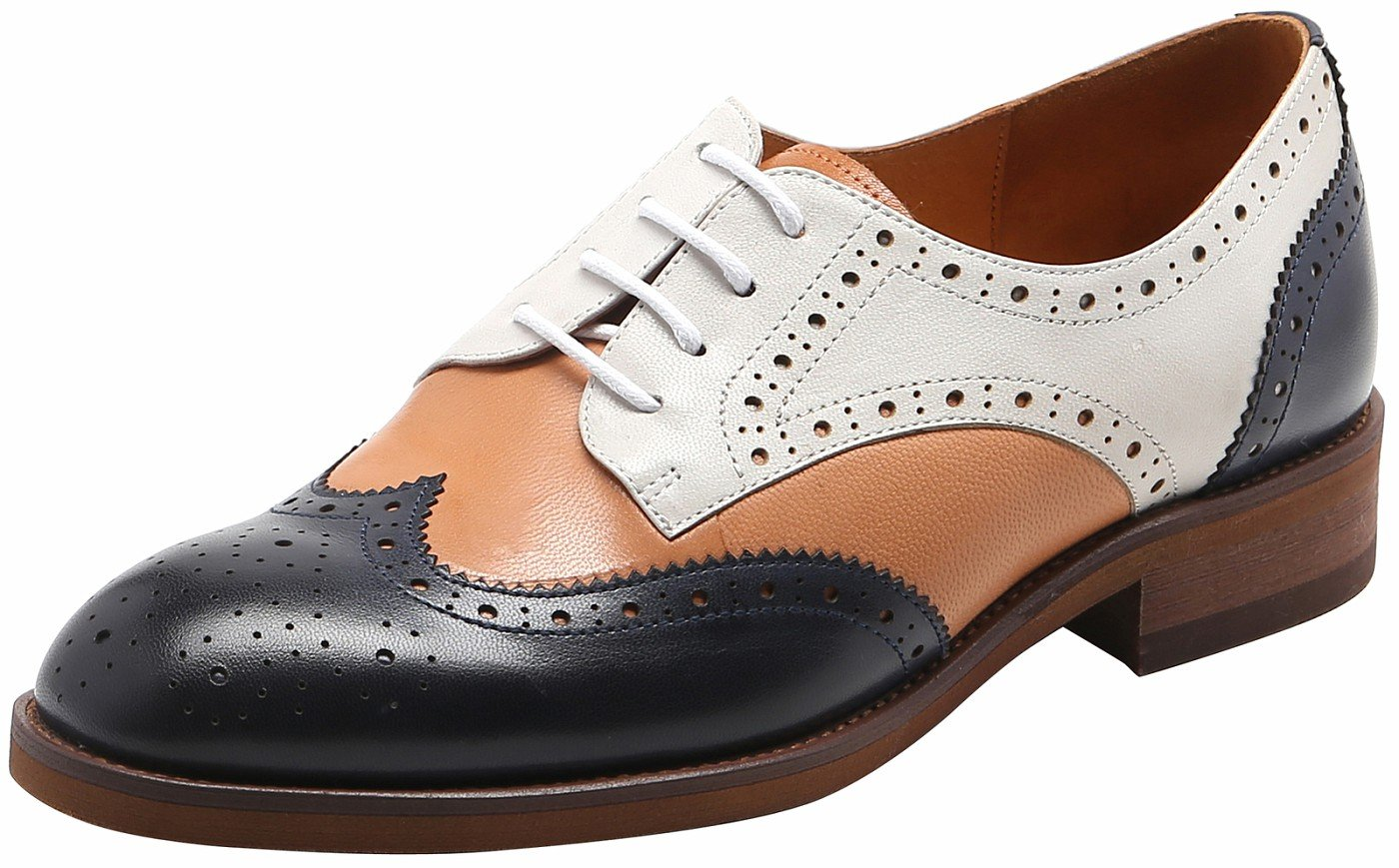 U-lite Muticolor Womens Perforated Lace-up Wingtip Leather Flat Oxfords Vintage Oxford Shoe 7