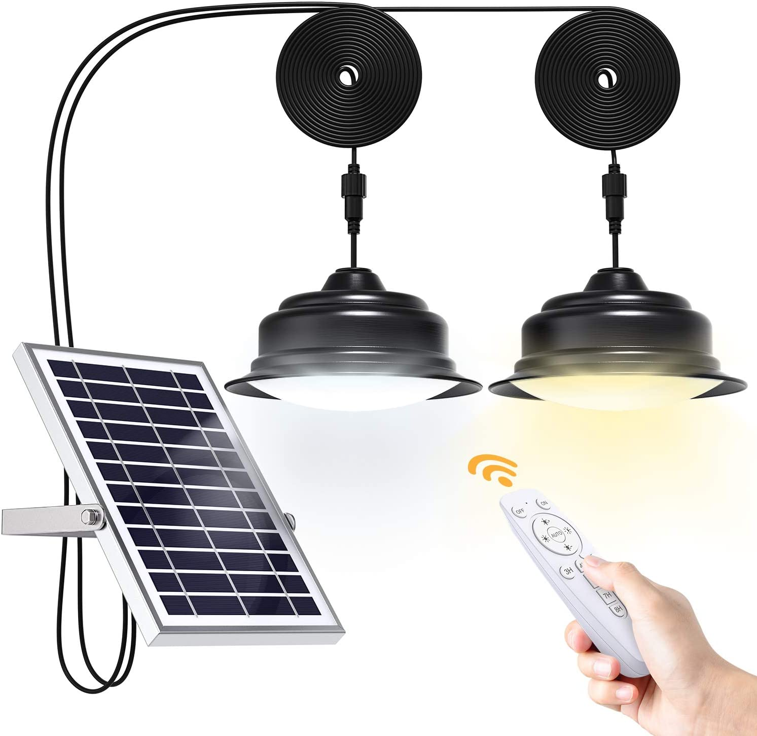 Solar Lights Indoor Outdoor Home Uponun Dual Head Solar Pendant Light with Smart Remote Control Dual Color Switchable Brightness & Timing Adjustable Solar Ceiling Light for Shed Barn Yard Patio Porch