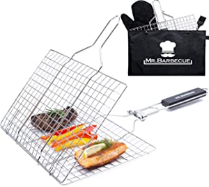 Mr. Barbecue Stainless Steel Folding Grill Basket with Brush and Heat-Resistant Glove - Portable Outdoor Camping BBQ Accessories for Chicken, Meat, Fish, Steak, Vegetables, Kabobs, Chops, Seafood