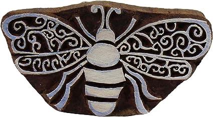 Batik Print Block Art Bumblebee Wooden Printing Block Textile Stamps Tattoo Clay Scrapbook Craft