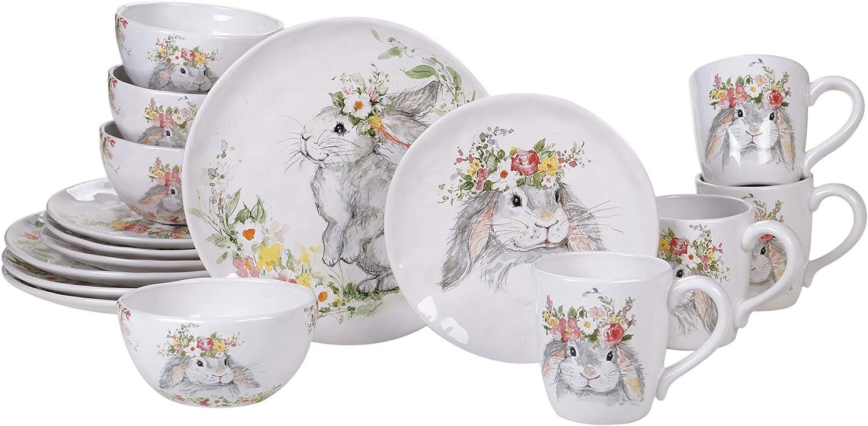 Certified International Sweet Bunny 16 Piece Dinnerware Set, Service for 4, Multicolored