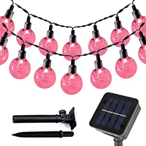 T-SUN Solar String Lights Outdoor, 23FT 50 LED Solar Powered Globe Bulb Crystal Ball Fairy Light, Waterproof 2 Modes, Patio, Garden, Gazebo, Yard, Christmas Festival Decorative Lighting (Pink)