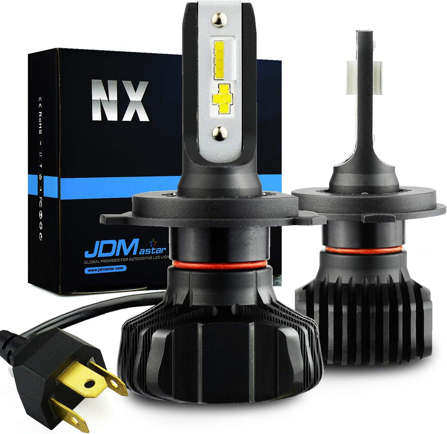 JDM ASTAR NX Fanless Design H4 9003 Up to 60% More Downroad Visibility White LED Headlight Bulbs