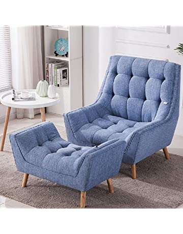 Warmiehomy Modern Linen Fabric Armchair Oversized Fireside Occasional Chair  Sofa Lounge With Solid Wood Legs And