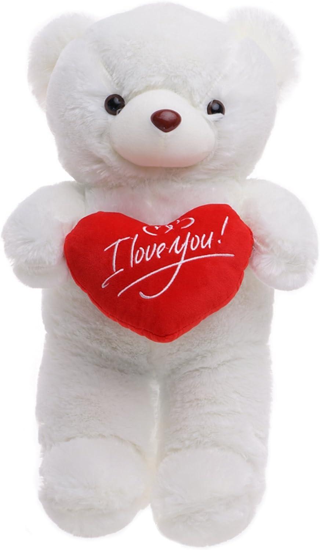 Oso Peluche 45cm con 'I Love You' de corazón - Blanco Teddy Bear con Sensación De Felpa Suave Regalo para Día De San Valentín –Tierno Y Romántico para Pareja, Y Ocasiones Especiales