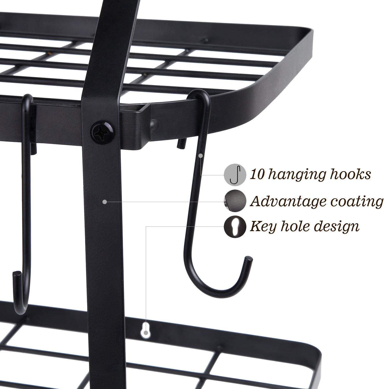 VDOMUS Shelf Pot Rack Wall Mounted Pan Hanging Racks 2 Tire (Black) by VDOMUS (Image #4)
