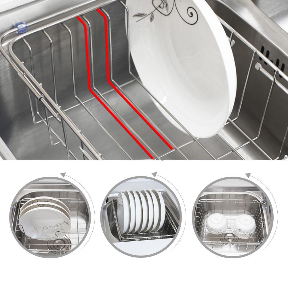 Gaeruite regolabile lavello in acciaio INOX di scarico cestino bacinella scolapiatti da cucina lavello scolapiatti