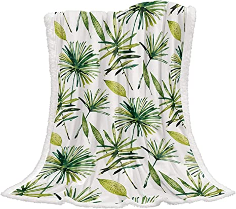 Watercolor Leaves Green Gender Neutral Nature Sherpa Cuddle Blanket