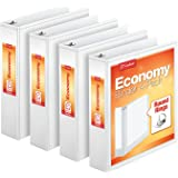 Cardinal Economy 3 Ring Binder, 2 Inch, Presentation View, White, Holds 475 Sheets, Nonstick, PVC Free, 4 Pack of…