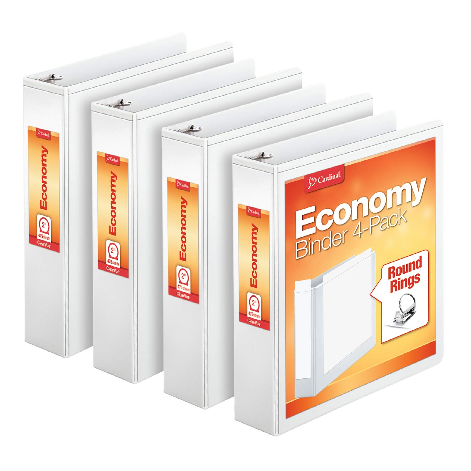 Cardinal Economy 2'' Round-Ring Presentation View Binders, 3-Ring Binder, Holds 475 Sheets, Nonstick Poly Material, PVC-Free, White, 4-Pack (79520)