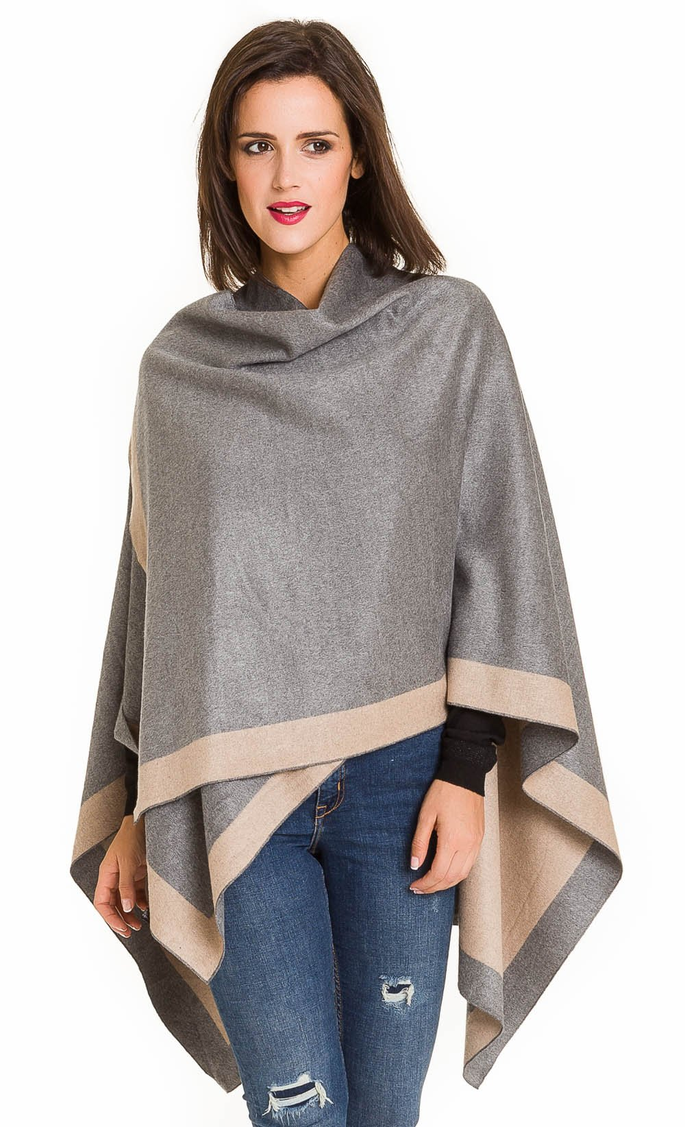 Cardigan Poncho Cape: Women Elegant Gray Beige Reversible Cardigan Shawl Wrap Sweater Coat for Winter (Light Gray Beige) by MELIFLUOS DESIGNED IN SPAIN (Image #4)