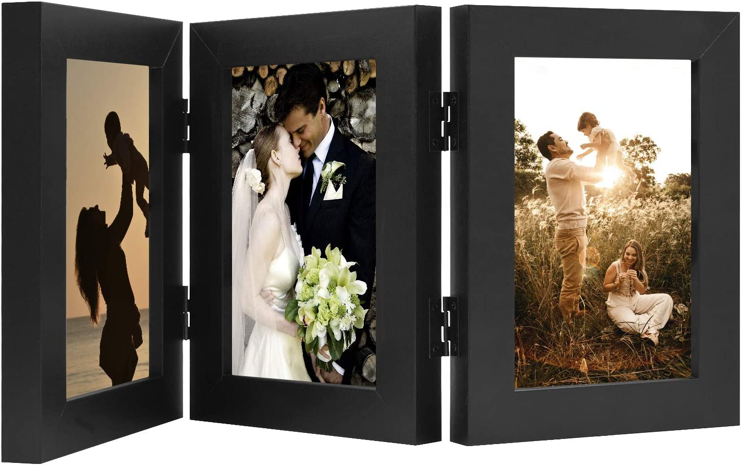 Golden State Art, Decorative Hinged Table Desk Top Picture Photo Frame, 3 Vertical Openings, with Real Glass (4x6 Triple, Black, 1-Pack)