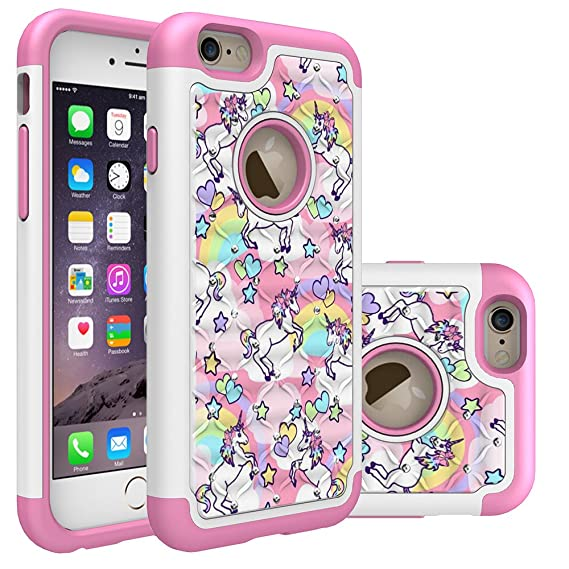 premium selection b4b38 083ad Iphone 6S Case, Iphone 6 Bling Case, Rainbow Unicorn Pattern Heavy Duty  Shockproof Studded Rhinestone Crystal Bling Hybrid Case Silicone Protective  ...