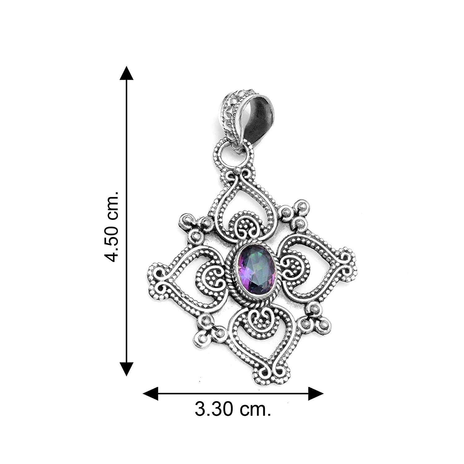 Silver Palace Sterling Silver Natural Mystic Topaz Pendant for Women and Girls