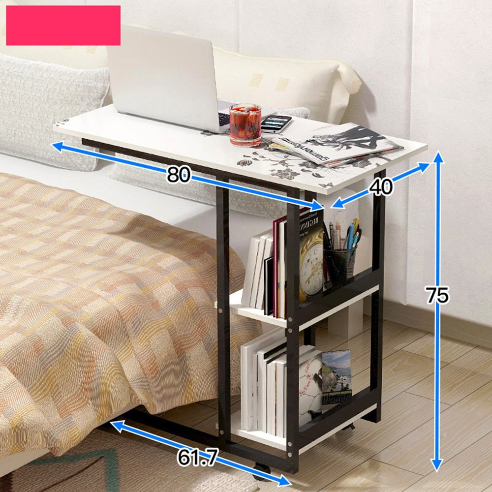 SYF モバイルホームベッドルームシンプルデスク多機能本棚ベッドサイドテーブル怠惰なラップトップデスクベッドホイールテーブルを使用して A+ (色 : C) B07K6DXDS7