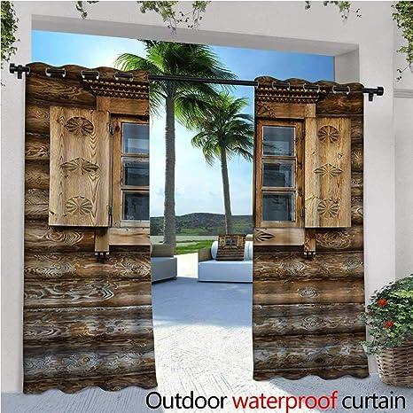 Homehot Shutters - Cortina de privacidad para exteriores para pérgola de la fachada de un viejo edificio de madera de la casa tradicional plantas de verano naturaleza térmica aislante impermeable Drape para