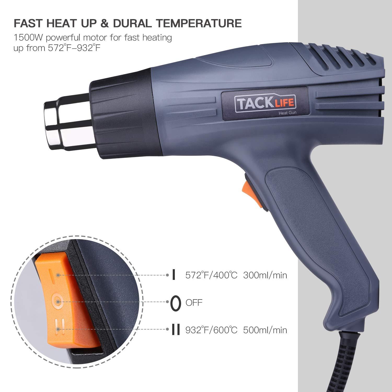 Tacklife Pistolet /à Air Chaud 2000W D/écapeur Thermique//230V 50Hz//2 niveaux de temp/érature et D/ébit d/'Air【Ⅰ:400℃ 300L//min Ⅱ:600/°C 500L//min】avec 4 Buses Fournies et protection contre surchauffe HGP69AC