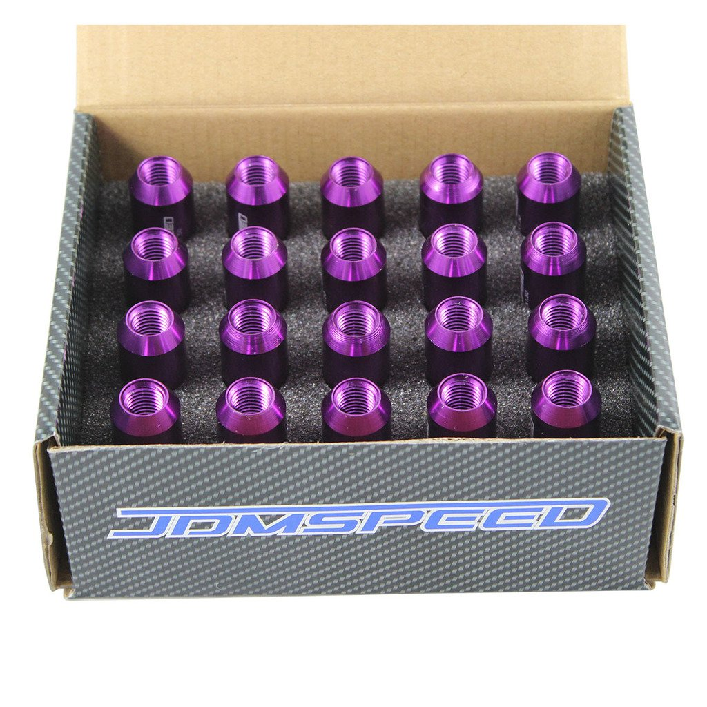 JDMSPEED Black 60MM Aluminum Extended Tuner Lug Nuts for Wheel Rims M12X1.5 20PCS