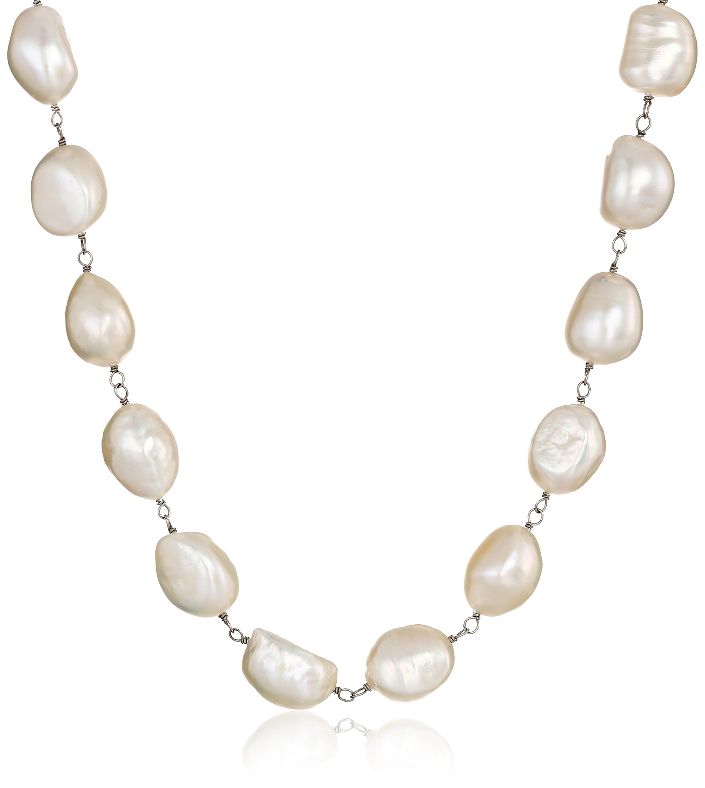 Sterling Silver 11-11.5mm White Baroque Cultured Freshwater Pearl Strand, 18''