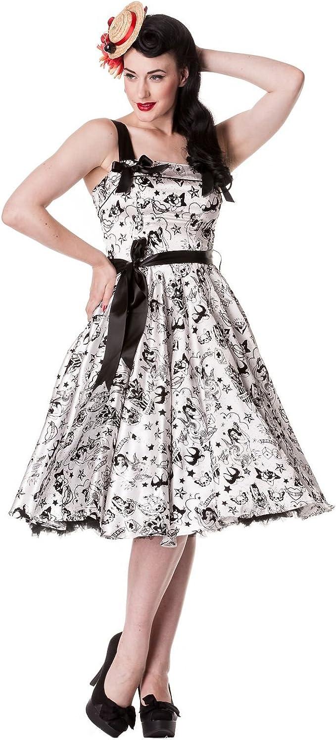 Hell Bunny - Tattoo Flock Dress Rockabilly Kleid Weiss/Schwarz ohne  Petticoat
