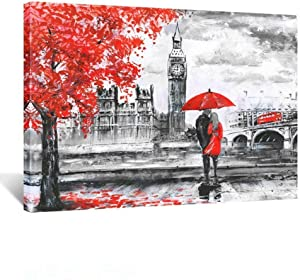 Kreative Arts - Red Umbrella Couple Painting Canvas Art Wall Decor Print Romantic London Street Landscape Paintings Canvas Ready to Hang 24x32inch