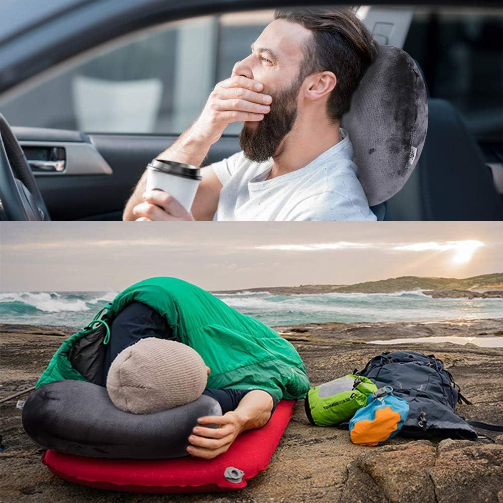coche hogar SKL Almohada hinchable para el cuello con funda lavable y bolsa de transporte oficina avi/ón tren almohada de descanso para saco de dormir