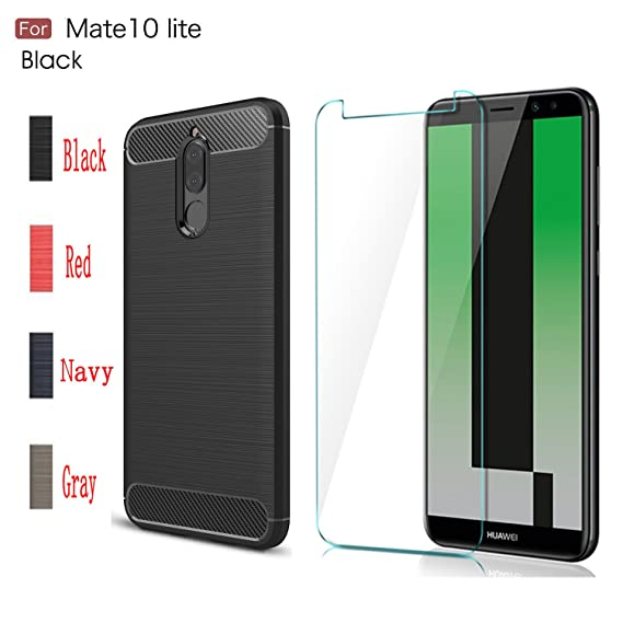 buy online d53fd a845e MYLB Compatible with Huawei Mate 10 Lite case,with Huawei Mate 10 Lite  Screen Protector.(2 in 1)[Anti-Fall] Fashion Soft TPU Shockproof Case with  ...