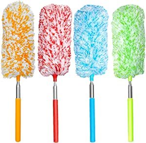 Tonmp 4 Pcs Microfiber Duster, Microfiber Hand Duster Washable Microfibre Cleaning Tool Extendable Dusters for Cleaning Office, Car, Computer, Air Condition, Washable Duster