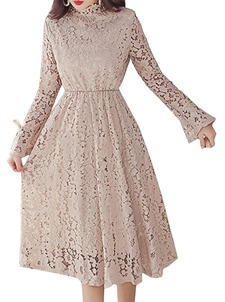 Scothen Vestidos de noche de encaje Vintage sin mangas Vestido cóctel Vestido de dama de honor