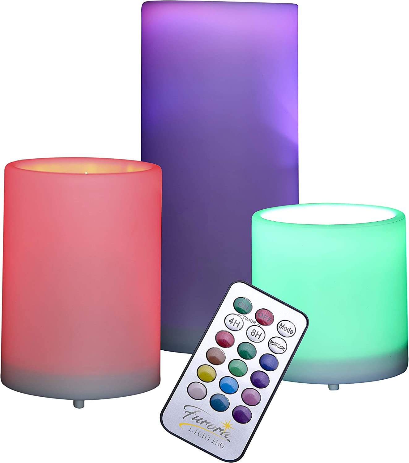 Furora LIGHTING Flameless LED Pillar Candles Battery Operated Multicolor Pillars with Flickering Flame, 18-Key Remote Control and Timer Featured - Pack of 3