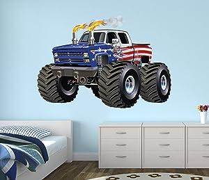 West Mountain Flag Monster Truck Wall Decal Nursery Art Kids Bedroom Decor Vinyl Playroom Sticker Mural WM08 (36''W x 30'' H)