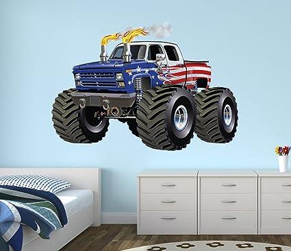 Superbe Flag Monster Truck Wall Decal Nursery Art Kids Bedroom Decor Vinyl Playroom  Sticker Mural West Mountain