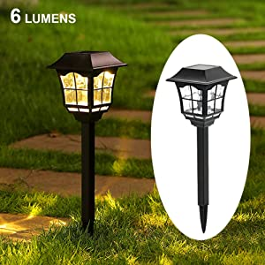 Maggift 6 Lumens Solar Pathway Lights Solar Garden Lights Outdoor Solar Landscape Lights for Lawn Patio Yard Pathway Walkway, 6 Pack