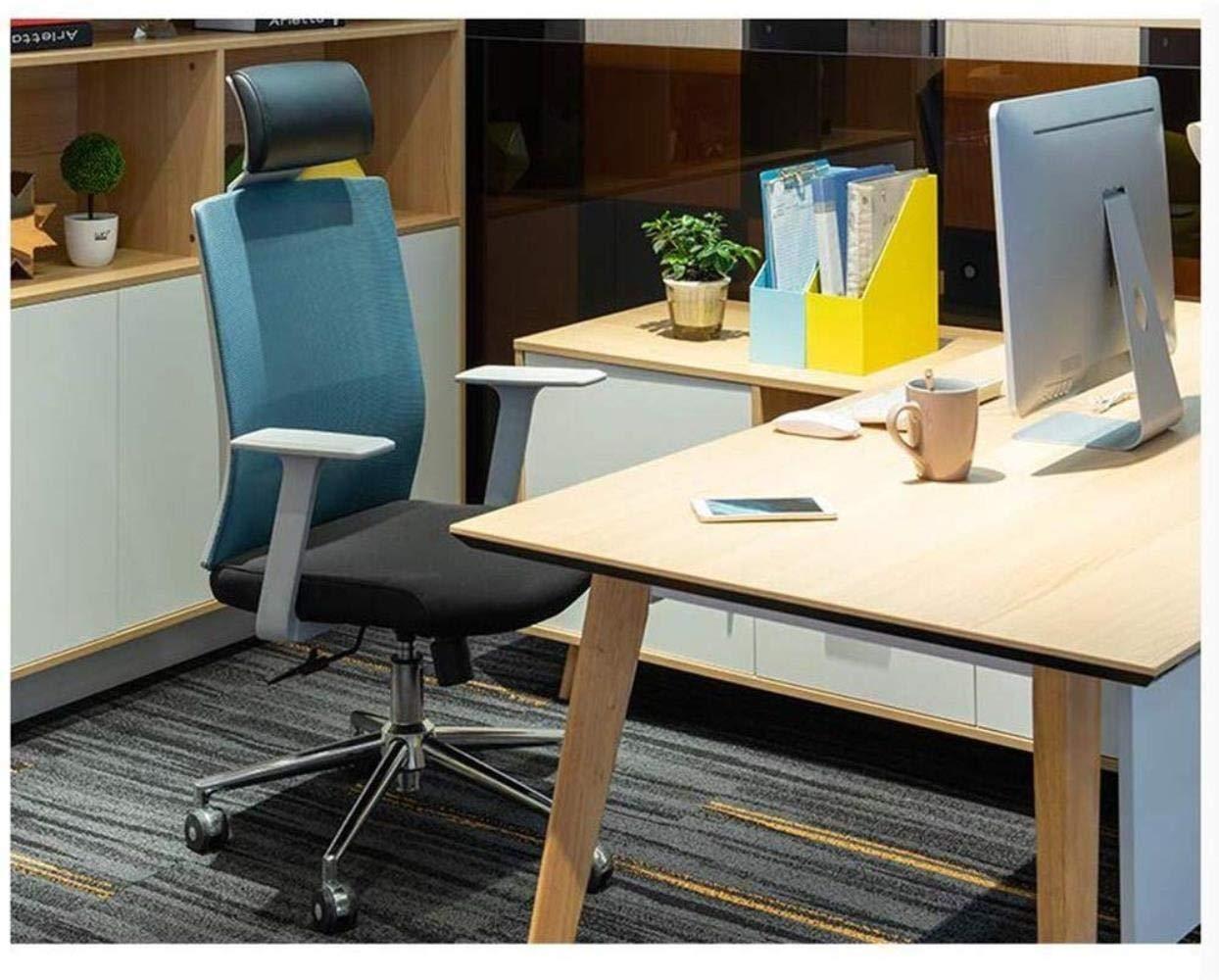 Xiuyun kontorsstol spelstol, andningsbar hög ryggmidja stöd med nackstöd hög och låg justering svängbar stol för hem dator stol (färg: Nylonfot) Steel Feet