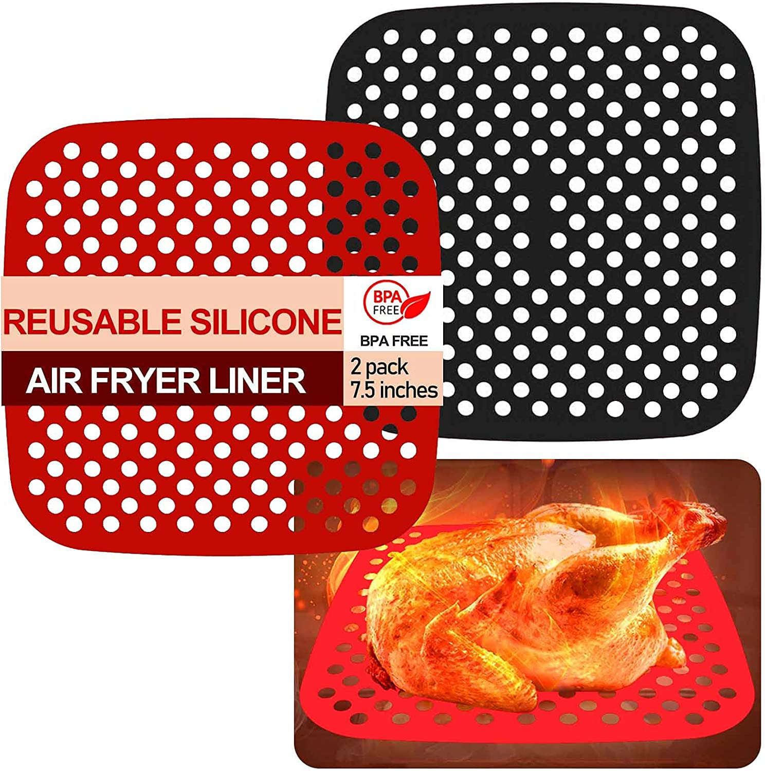 Connfiton Reusable Air Fryer Liners silicone,7.5 inch square,Non-Stick Silicone Air Fryer Basket Mats,Air Fryer Accessories For Ninja,Gourmia,Power XL,GoWise,Chefman,NuWave,and More,BPA Free -2 Pcs