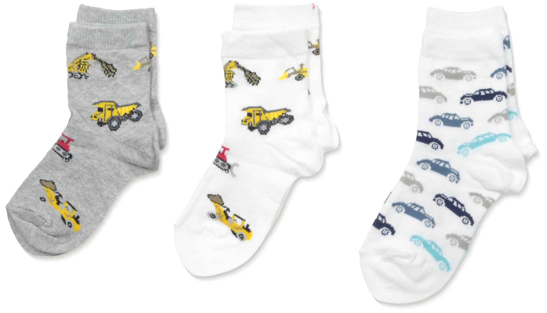 Country Kids Little Boys' Vintage Car and Bulldozer Sock 3 Pr, White/Gray, 8-9/6-10 Years