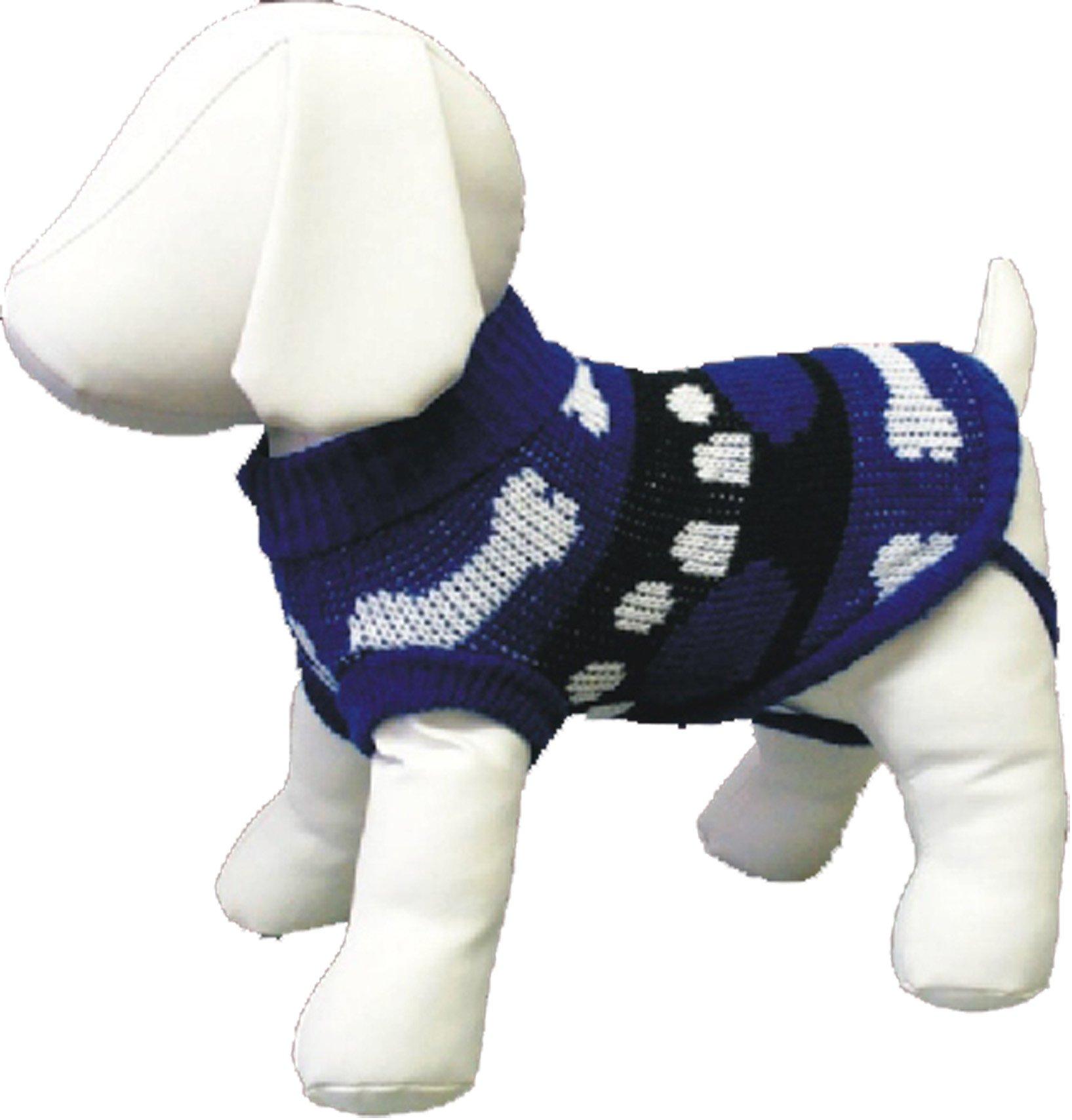 Amazing Pet Products Blue Bone & Paws Dog Sweater- Size 14