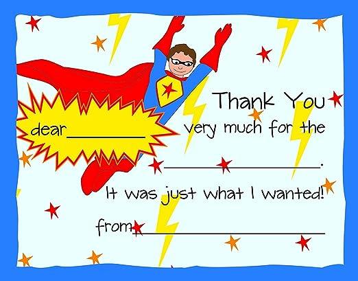 Amazon.com: 20 Super Hero kids Fill-In cumpleaños tarjetas ...