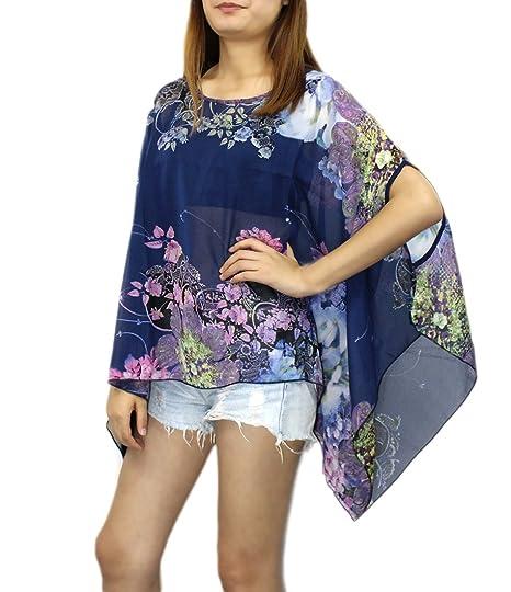 Camisetas de Verano Mujer Tallas Grandes Camisas Boho Chic Blusas de Gasa Estampadas Flores Caftan Pareos
