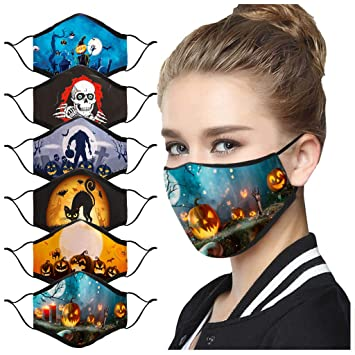 Adult Face/_Mask Halloween Print Face/_Cover Washable Reusable Face Scarf Dustproof Mouth/_Mask for Men Women Outdoor