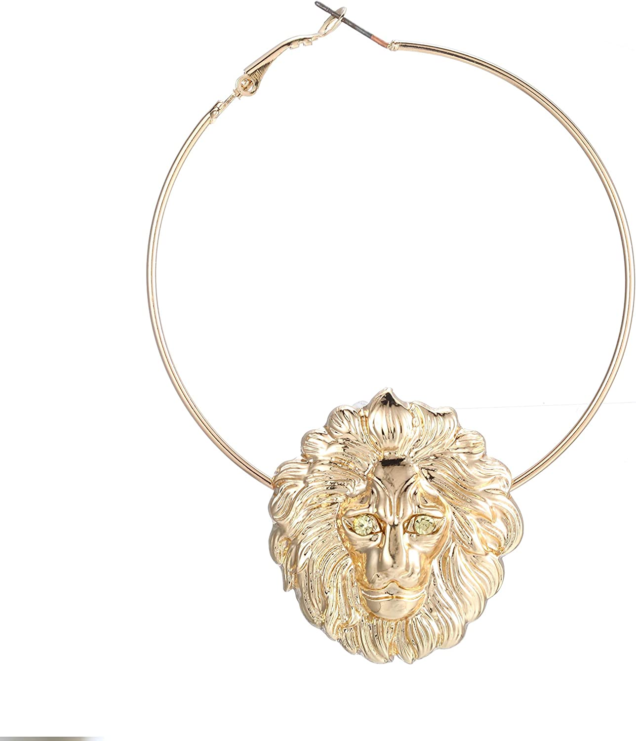 Basketball Wives Love and Hip Hop Celebrity Inspired 3.5L Large Gold Hoop Lion Head Earrings