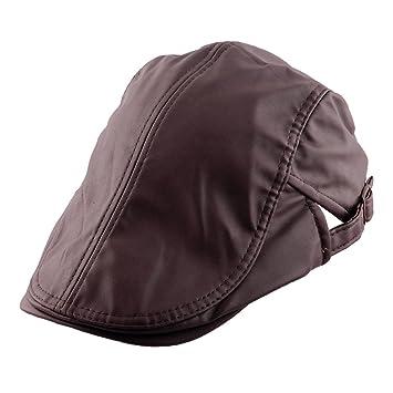 b9848030181 uxcellMen Women PU Leather Vintage Style Newsboy Duckbill Ivy Cap Cabbie  Driving Golf Casual Flat  1 Beret Hat Dark Coffee Color