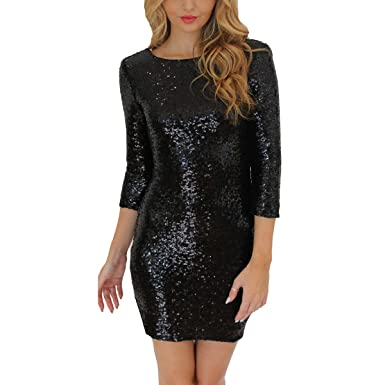 cbf42563400 oboss Ladies 3 4 Sleeve Sexy Sequins Shiny Clubwear Evening Party Bodycon  Mini Party Dress Cocktail Pencil Dress  Amazon.co.uk  Clothing
