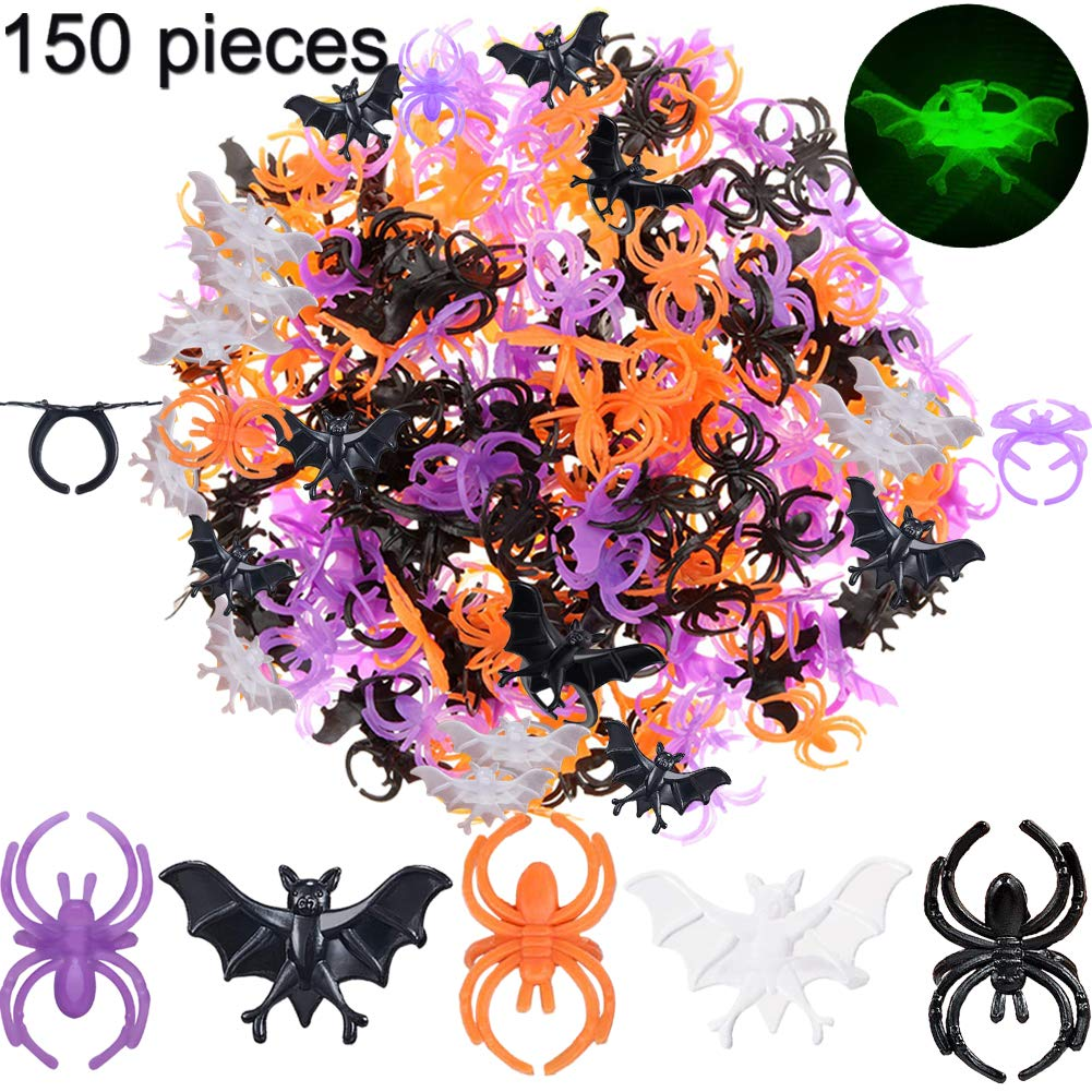 Halloween Spider Rings Bat Ring 150 Pcs, Fake Plastic Glow-in-The-Dark Women Finger Bat Ring Trick or Treat Toy Gifts for Kids Costume Accessories Cupcake Topper Party Decoration Black Purple Orange by BOLMAZ