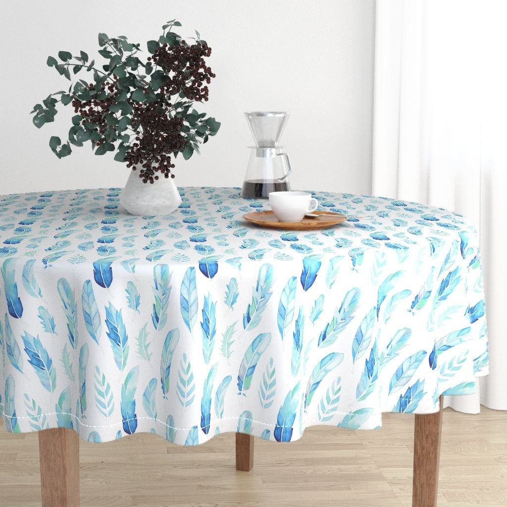 Round Tablecloth - Blue Aqua Feathers Nature Cool Watercolor Spa by Emmaallardsmith - Cotton Sateen Tablecloth 70in