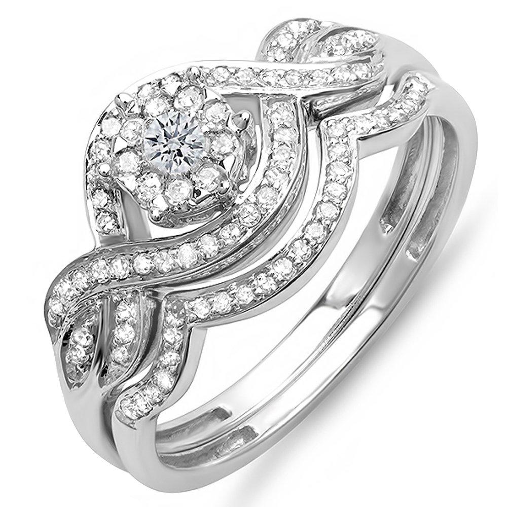 Dazzlingrock Collection 0.40 Carat (ctw) 14k Round Diamond Ladies Bridal Ring Engagement Matching Band Set, White Gold, Size 8.5