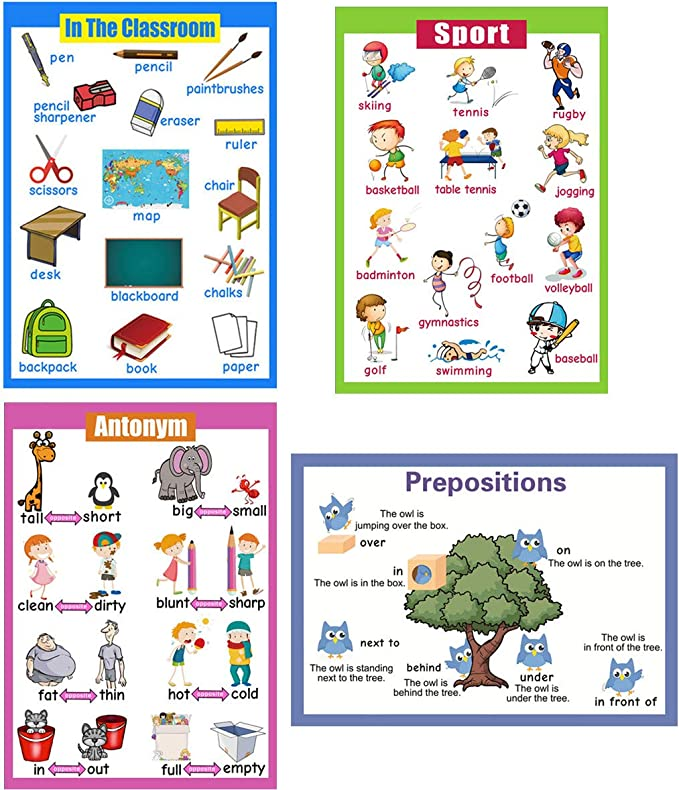 10PCS Educational Posters Funny Creative Charts for Kids Preschooler Toddler