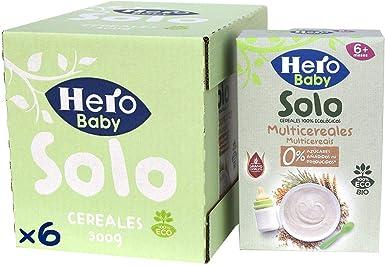 Hero Solo Baby - Papilla de Multicereales Ecológica sin Azúcares Añadidos, para Bebés a Partir de los 6 Meses - Pack de 6 x 300 g: Amazon.es: Alimentación y bebidas