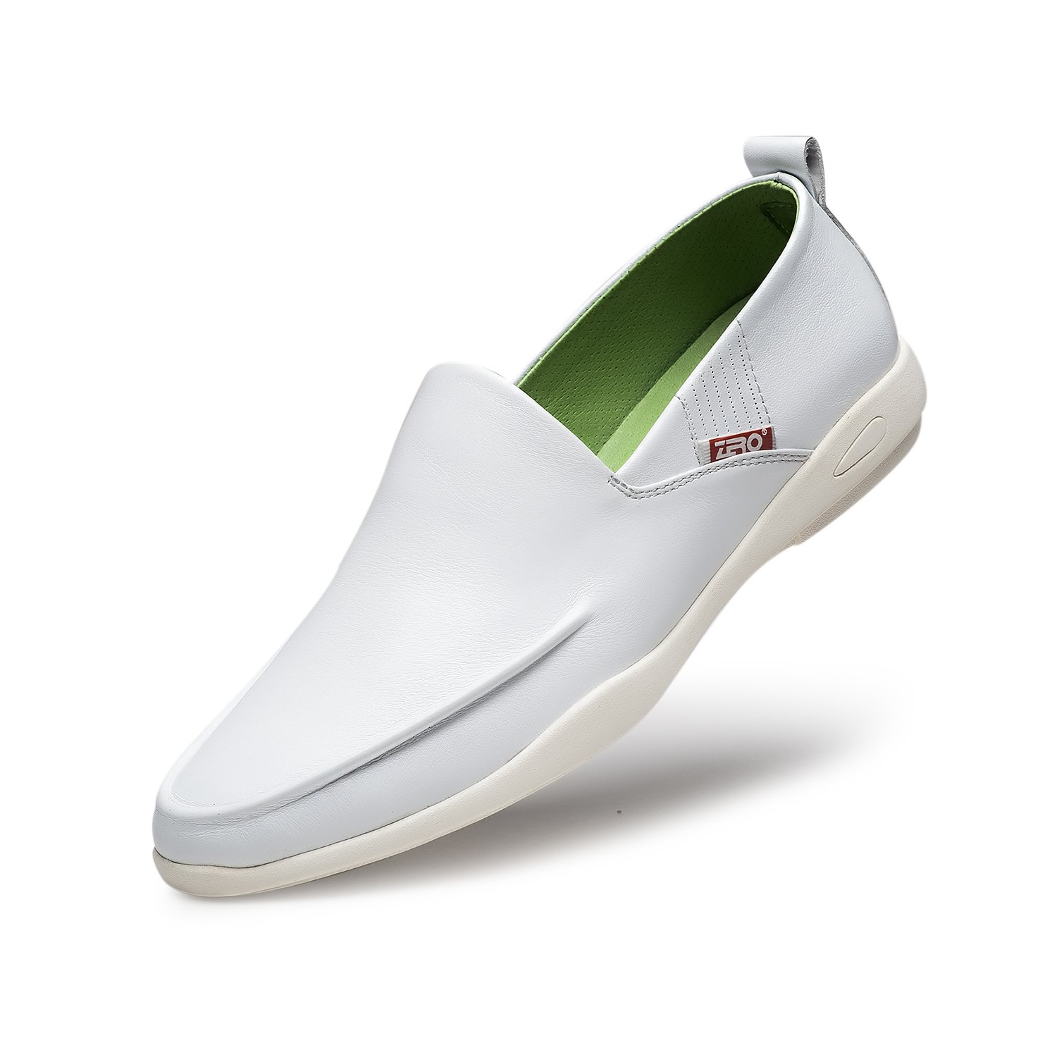 ZRO Men's White Genuine Leather Casual Dress Flats 10 M US