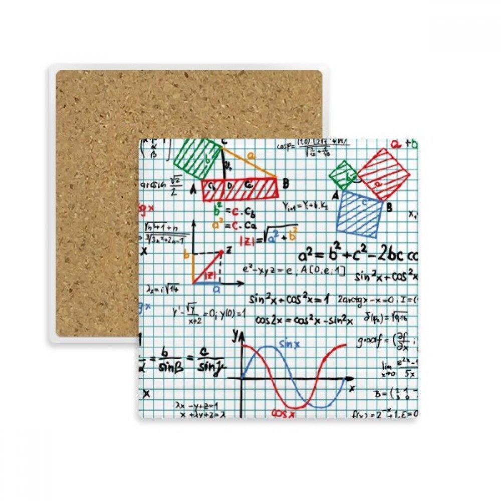 三角関数数学数式正方形コースターカップマグホルダー吸収性ストーンDrinks 2個のギフト   B07B2SB8MH